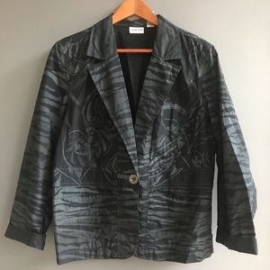 Chico's Women's Black and Gray Blazer